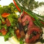 Grilled Flank Steak Rolled w Spinach,Goat Cheese and Chimichurri