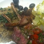 I served the freekeh with a lovely rack of lamb and a side dish of lemony leeks and a tomato mint salad. YUM!
