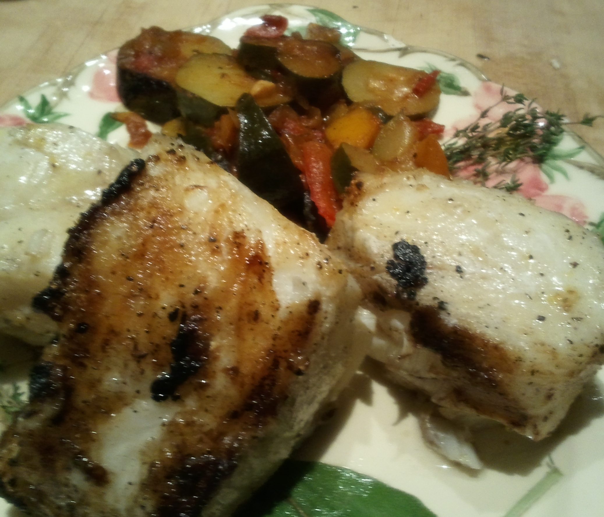 Citrus Grilled Chilean Sea Bass with Zucchini Ratatouille